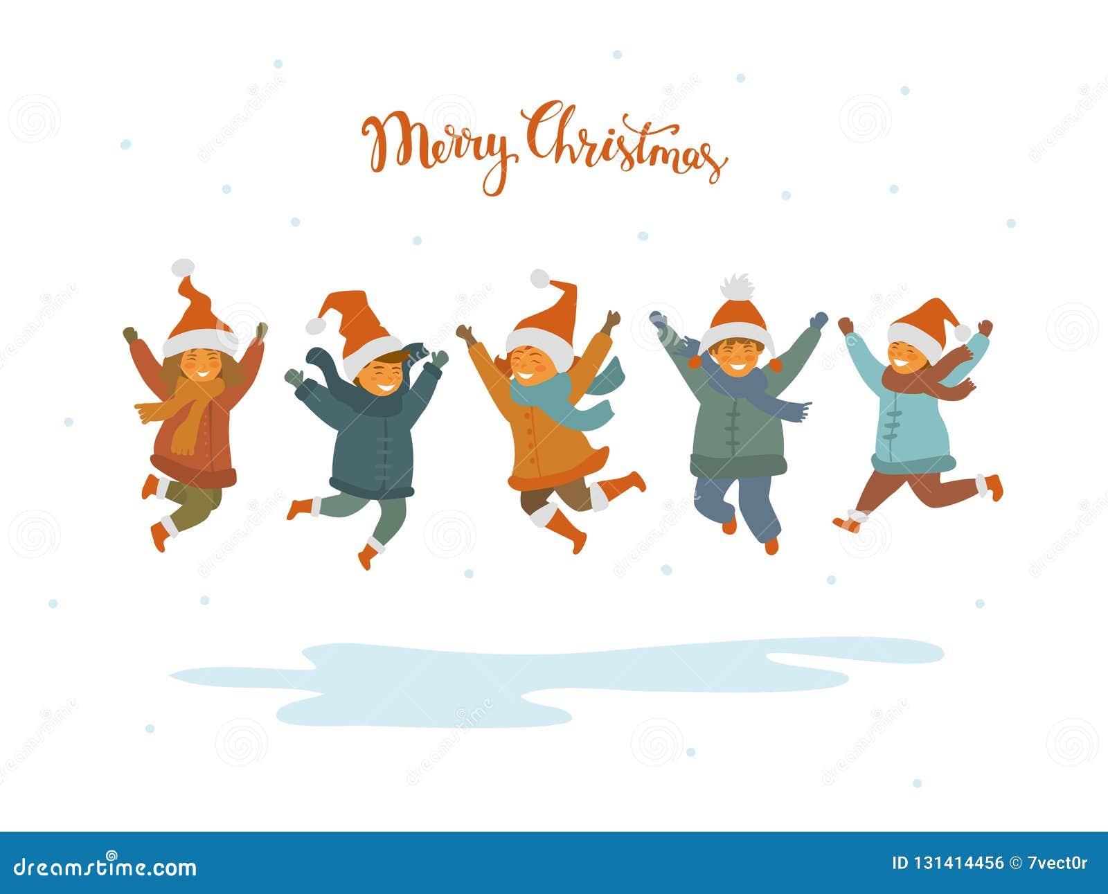 De groep leuke gelukkige kinderen, jongens en meisjes die voor vreugde voor Kerstmis springen, isoleerde vectorillustratie