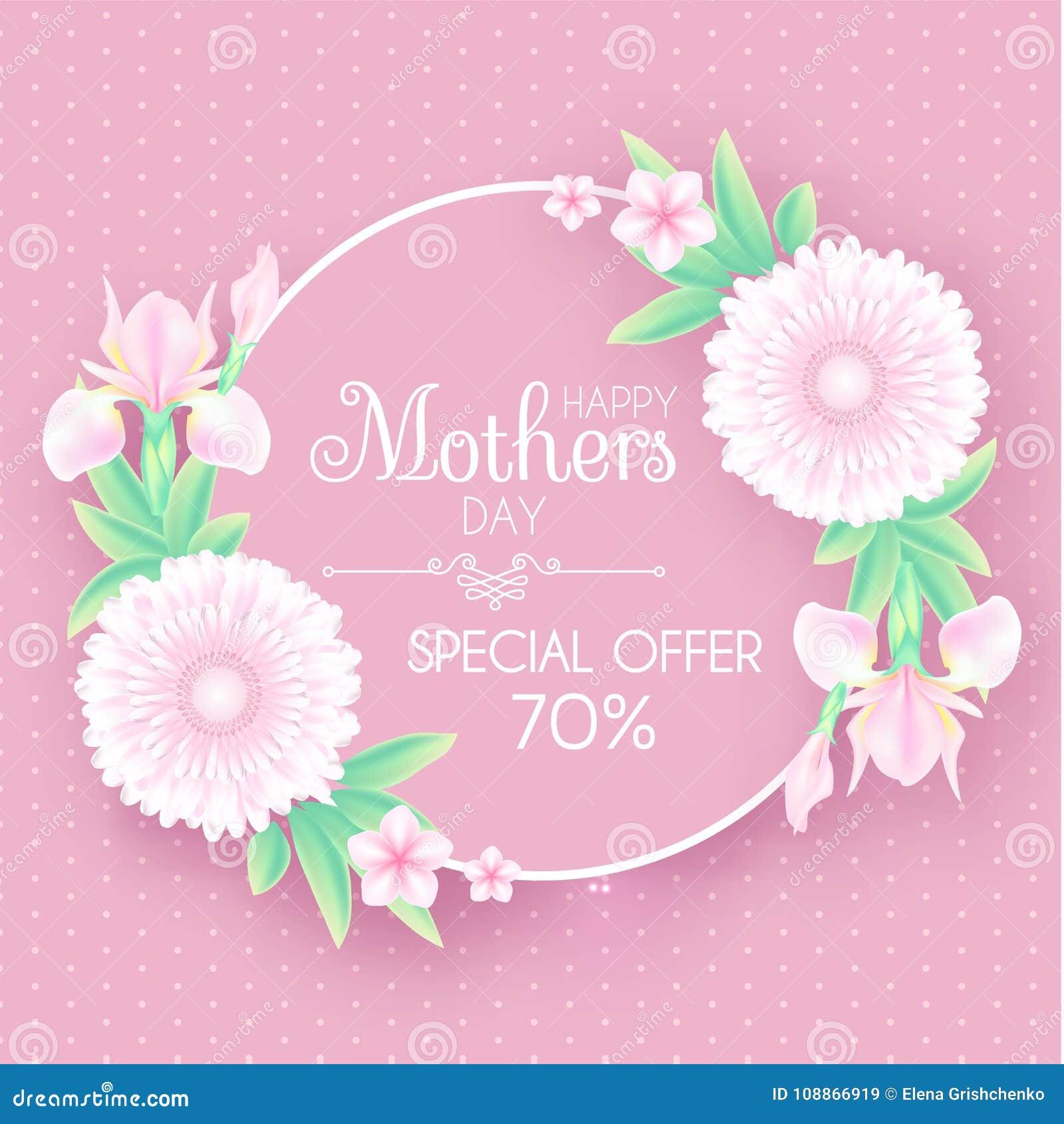 De Groet En De Uitnodiging Van De Moedersdag Met Zachte Bloemen Het