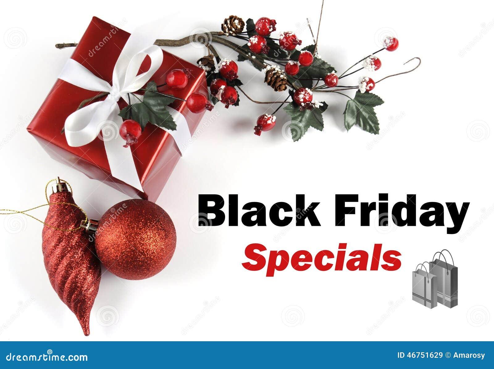 De groet van het de verkoopbericht van Black Friday Specials met Kerstmisdecoratie