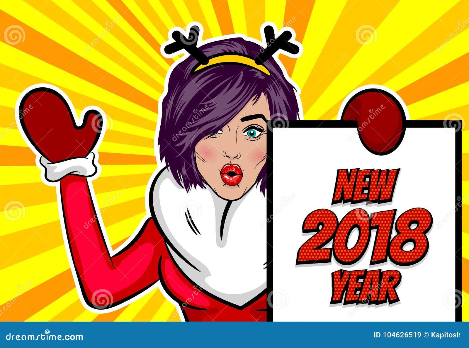 Download De Groetkerstmis Van Het Vrouwenpop-art Vector Illustratie - Illustratie bestaande uit viering, herten: 104626519