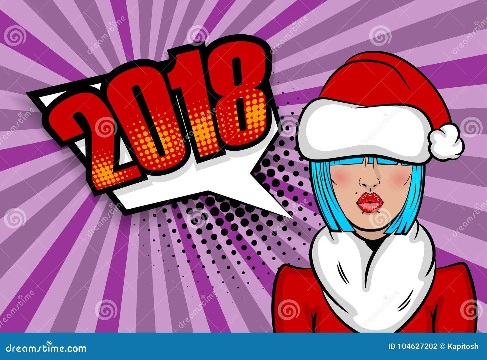 Download De Groetkerstmis Van Het Vrouwenpop-art Vector Illustratie - Illustratie bestaande uit achtergrond, claus: 104627202
