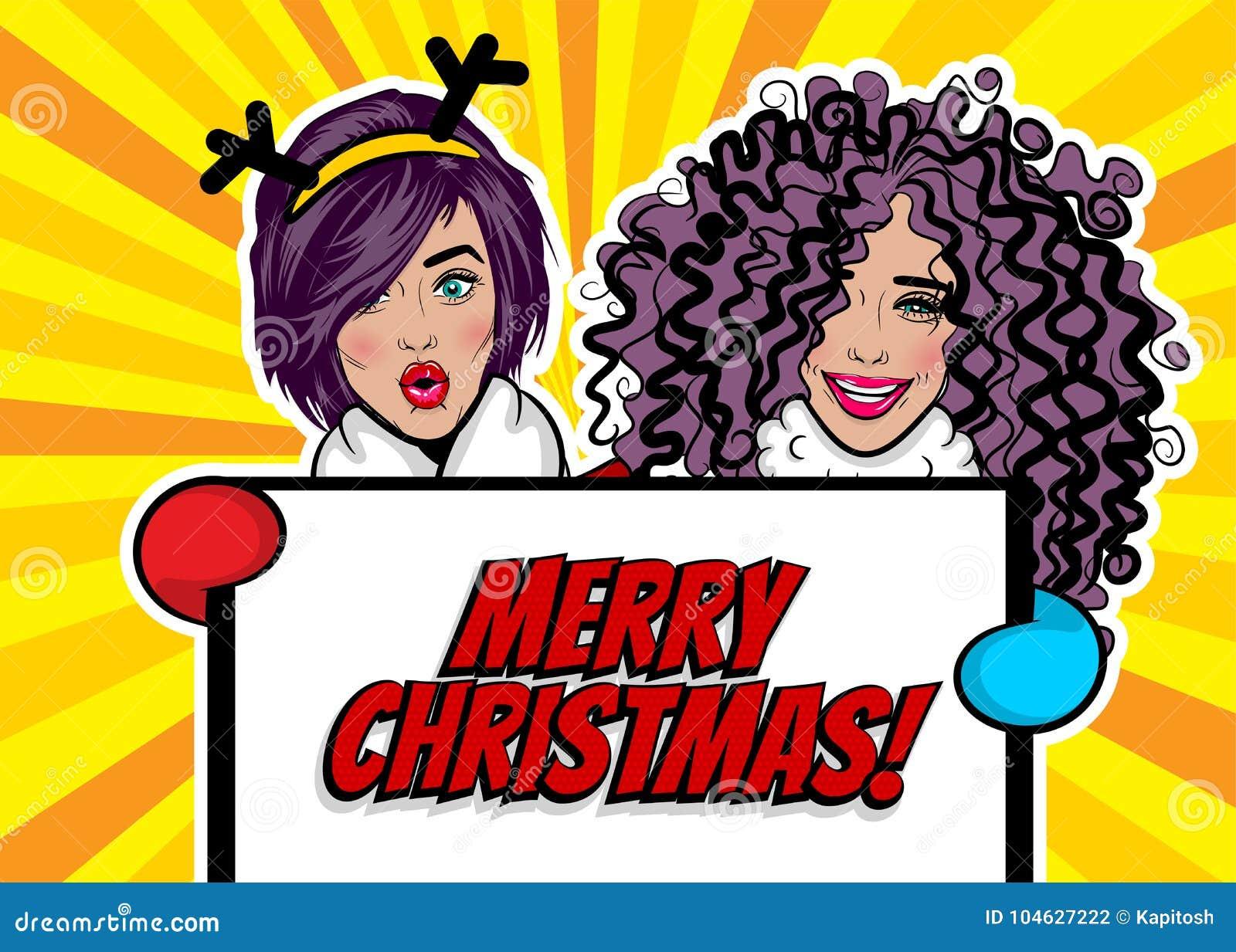 Download De Groetkerstmis Van Het Vrouwenpop-art Vector Illustratie - Illustratie bestaande uit gekleurd, mooi: 104627222