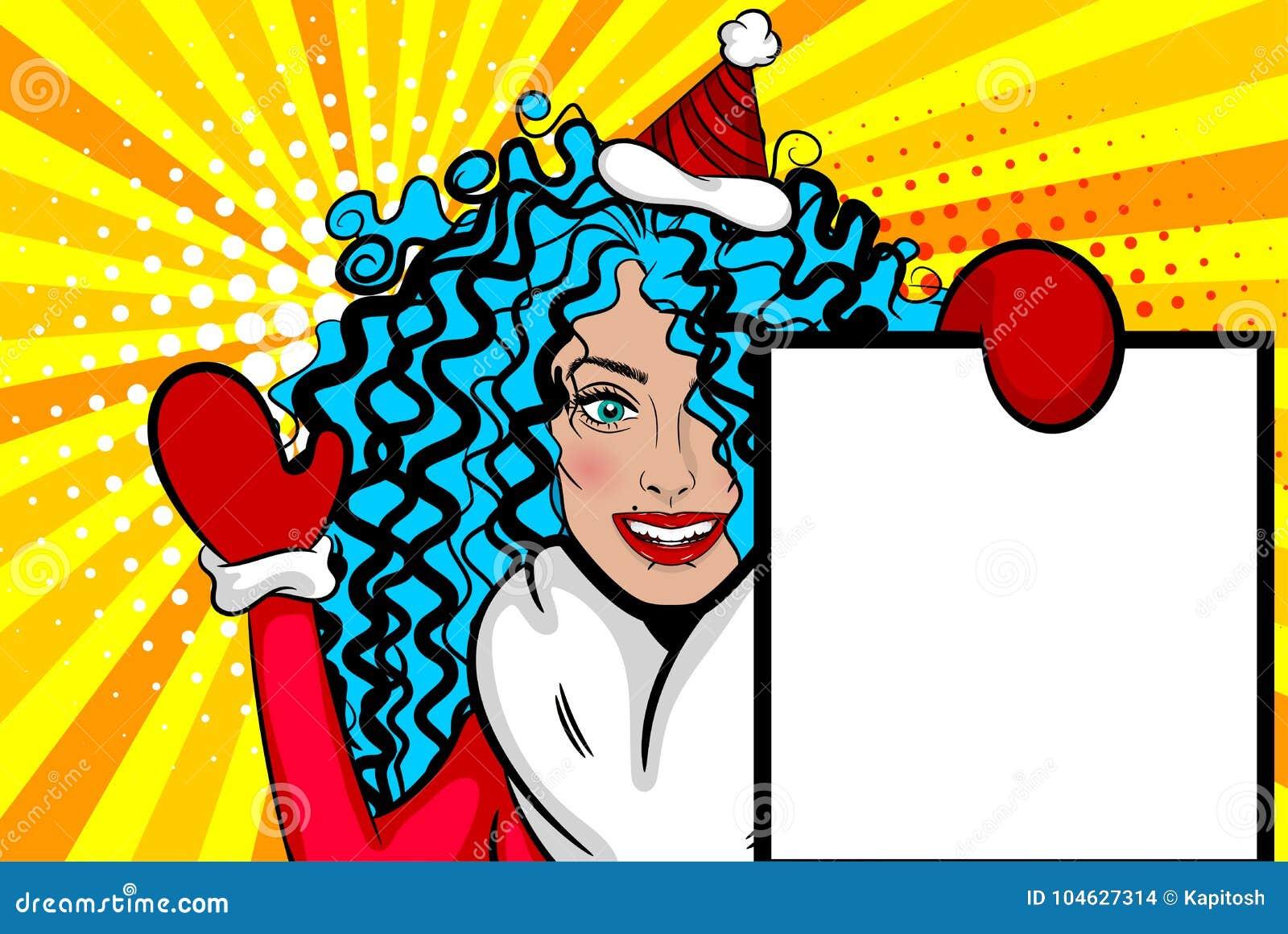 Download De Groetkerstmis Van Het Vrouwenpop-art Vector Illustratie - Illustratie bestaande uit beeldverhaal, art: 104627314