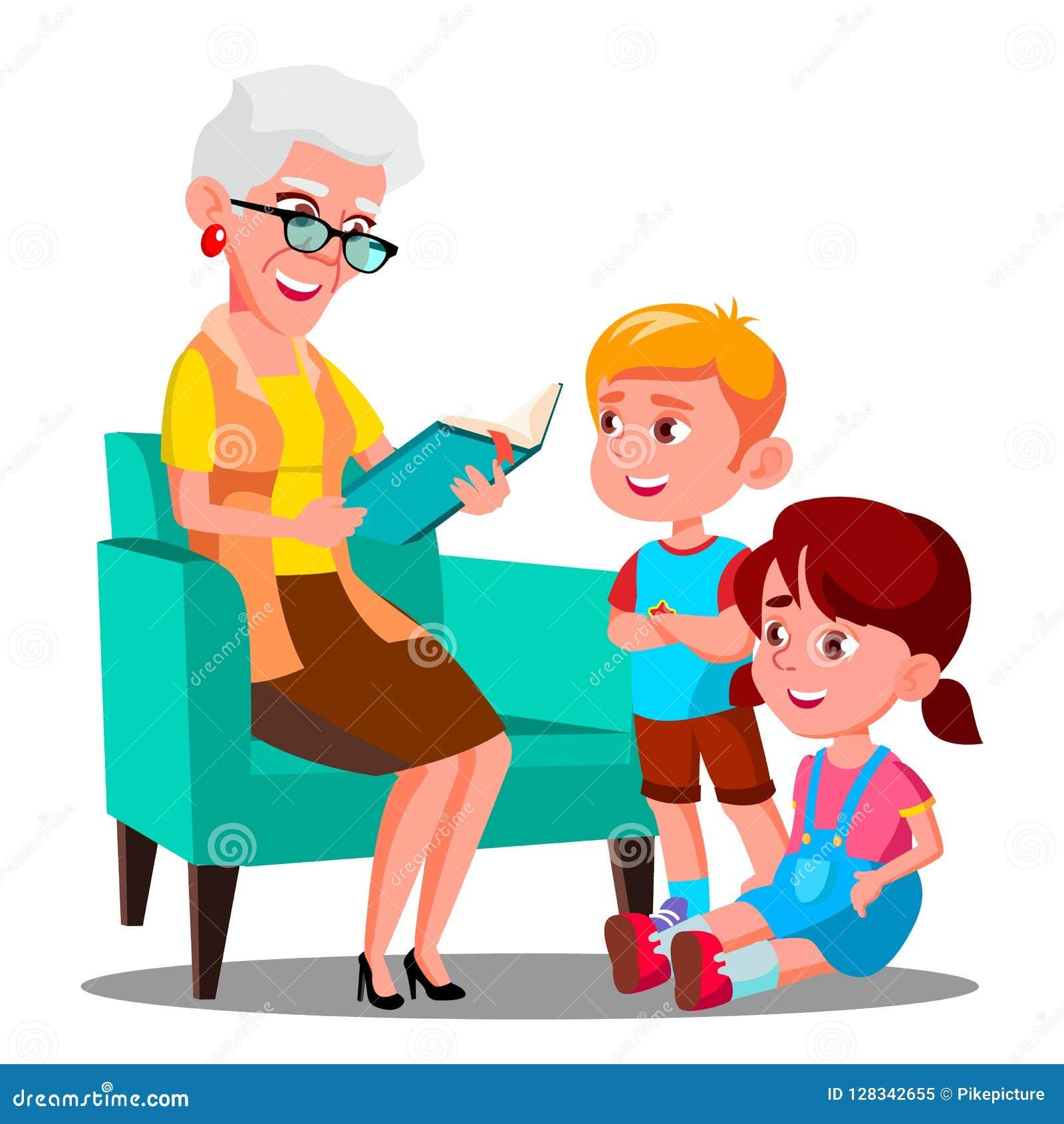 De grootmoeder leest een Boek aan Haar Kleinkinderenvector Geïsoleerdeo illustratie