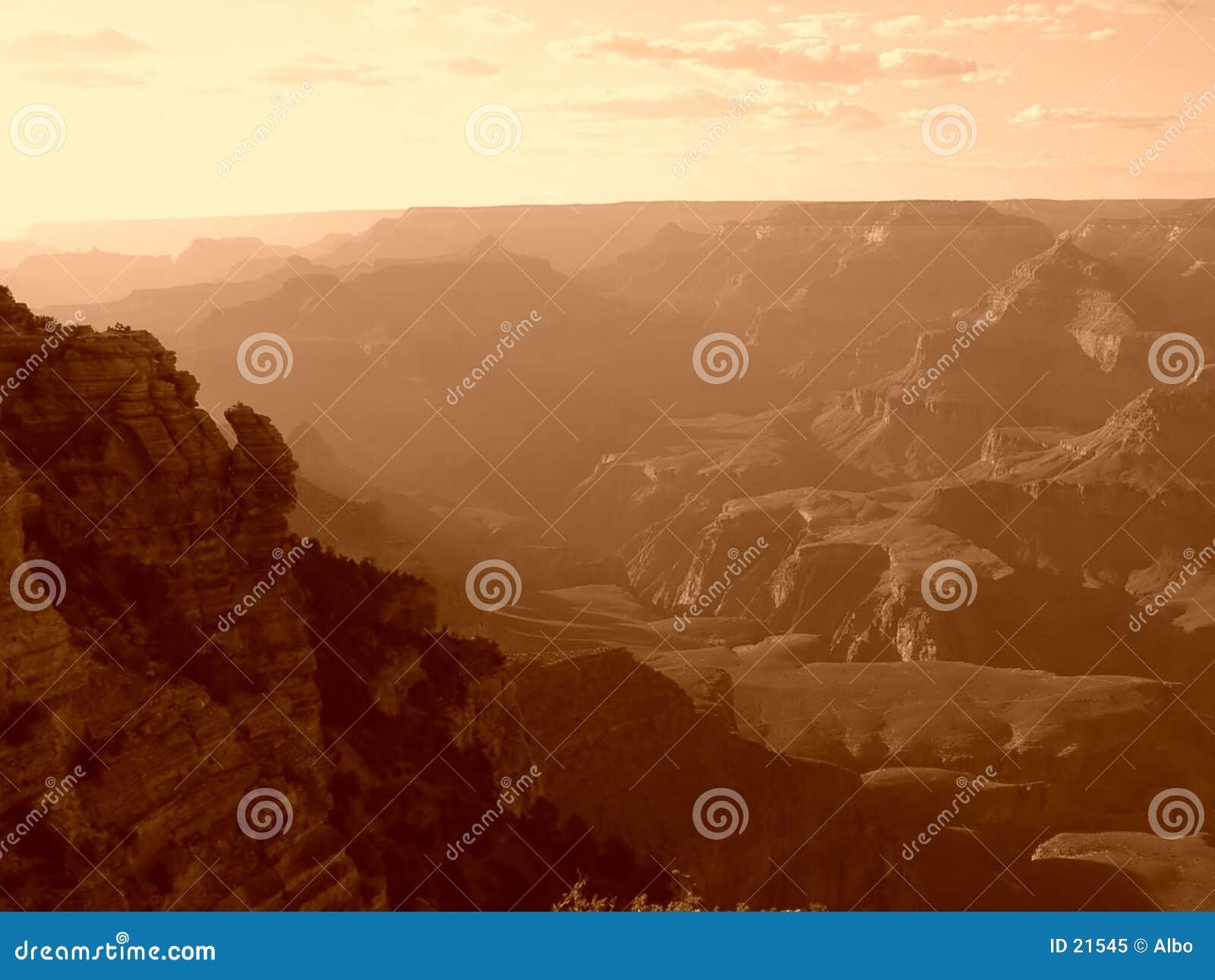 De grote zonsondergang van de Canion