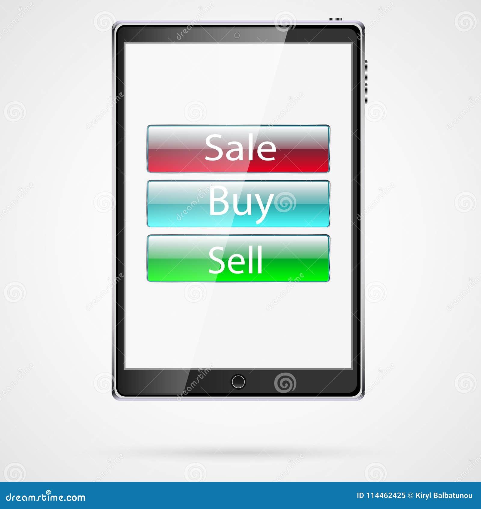 De grote zwarte realistische mobiele slimme touch-sensitive slanke tabletcomputer met schaduw met de verkoop van glasknopen, koop
