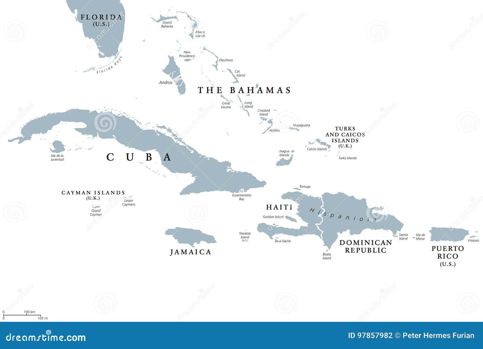 De grotere politieke kaart van Antillen