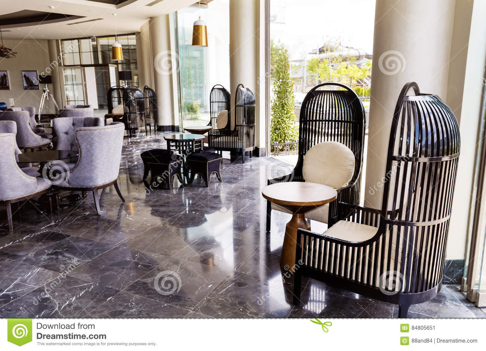 De hal binnenlands ontwerp van het hotel