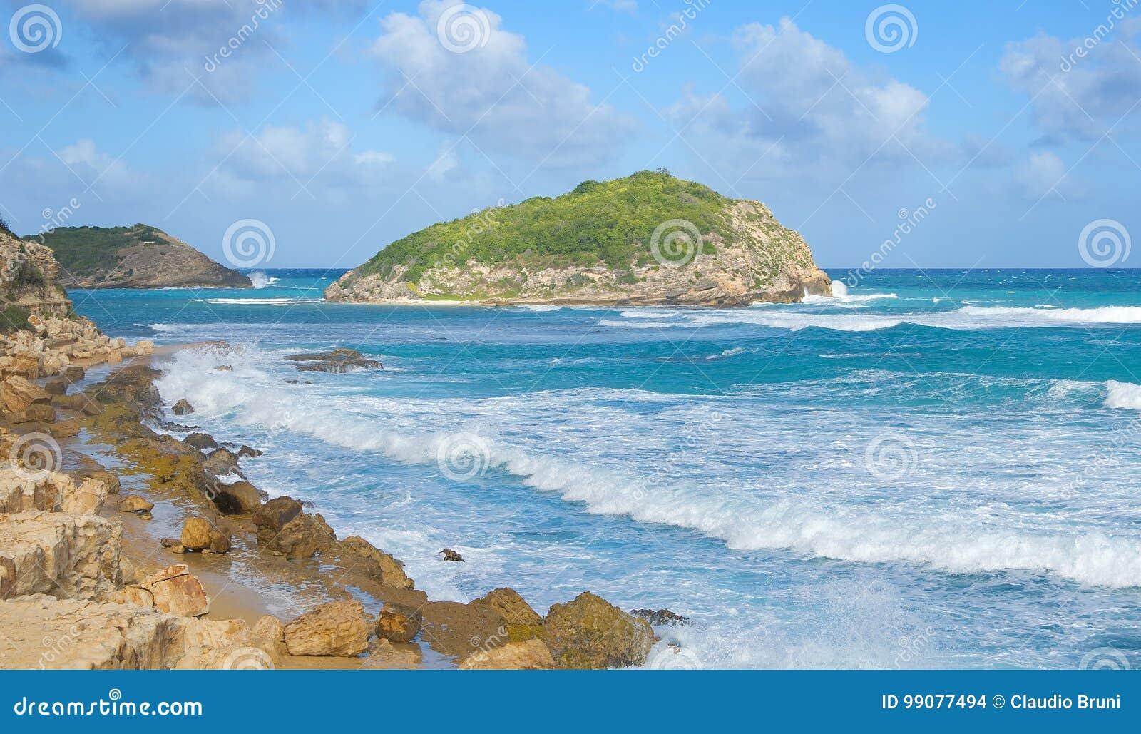 De halve kust van de Atlantische Oceaan van de Maanbaai - Caraïbisch tropisch eiland - Antigua en Barbuda