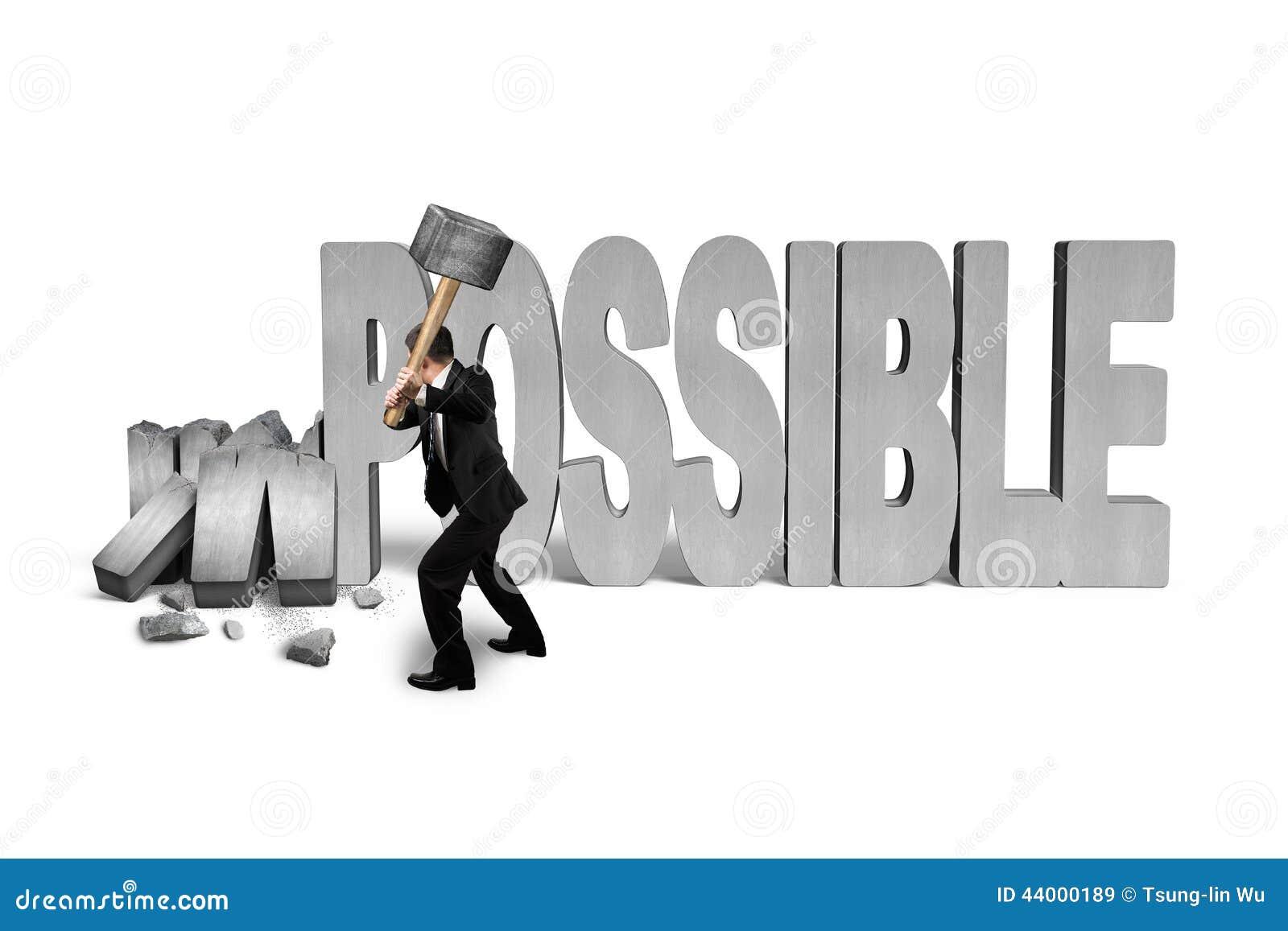 De hamer van de mensenholding aan barst onmogelijk 3D concreet woord