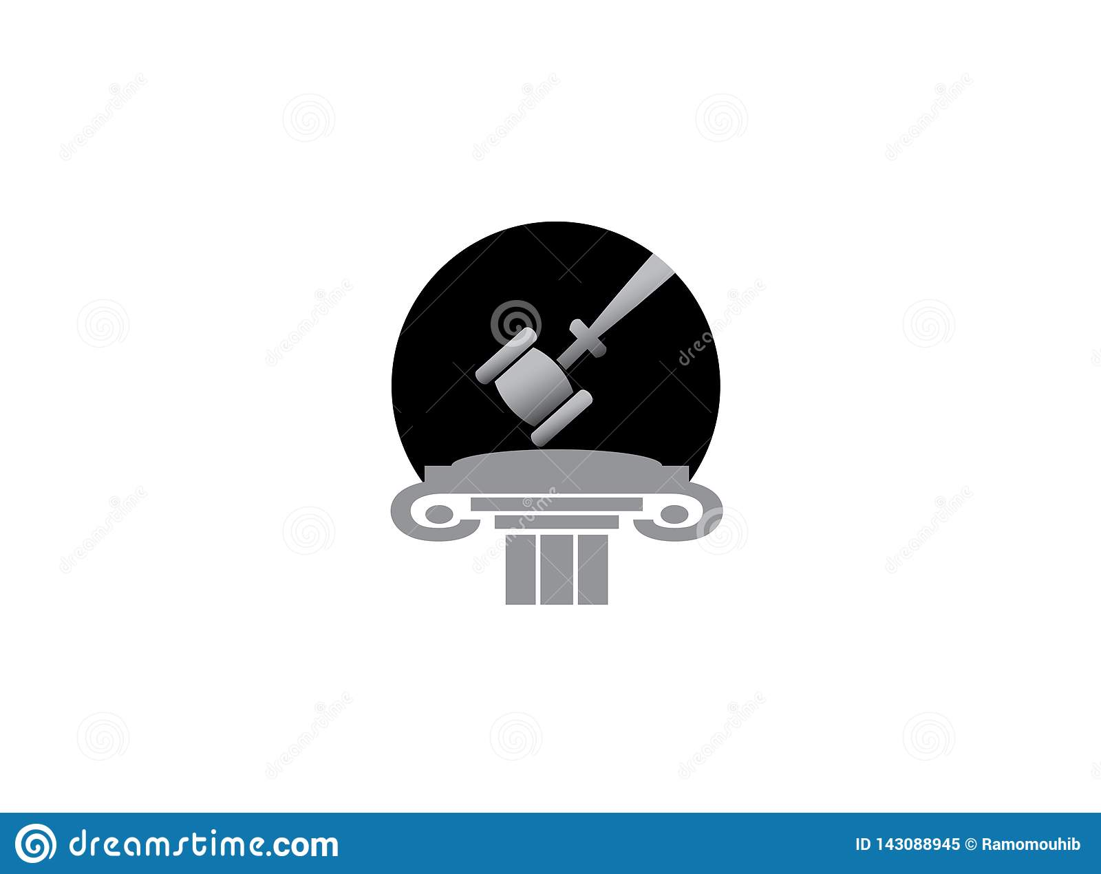 De hamer van de procureur in een gebouw van de wetsrechtvaardigheid voor embleemontwerp