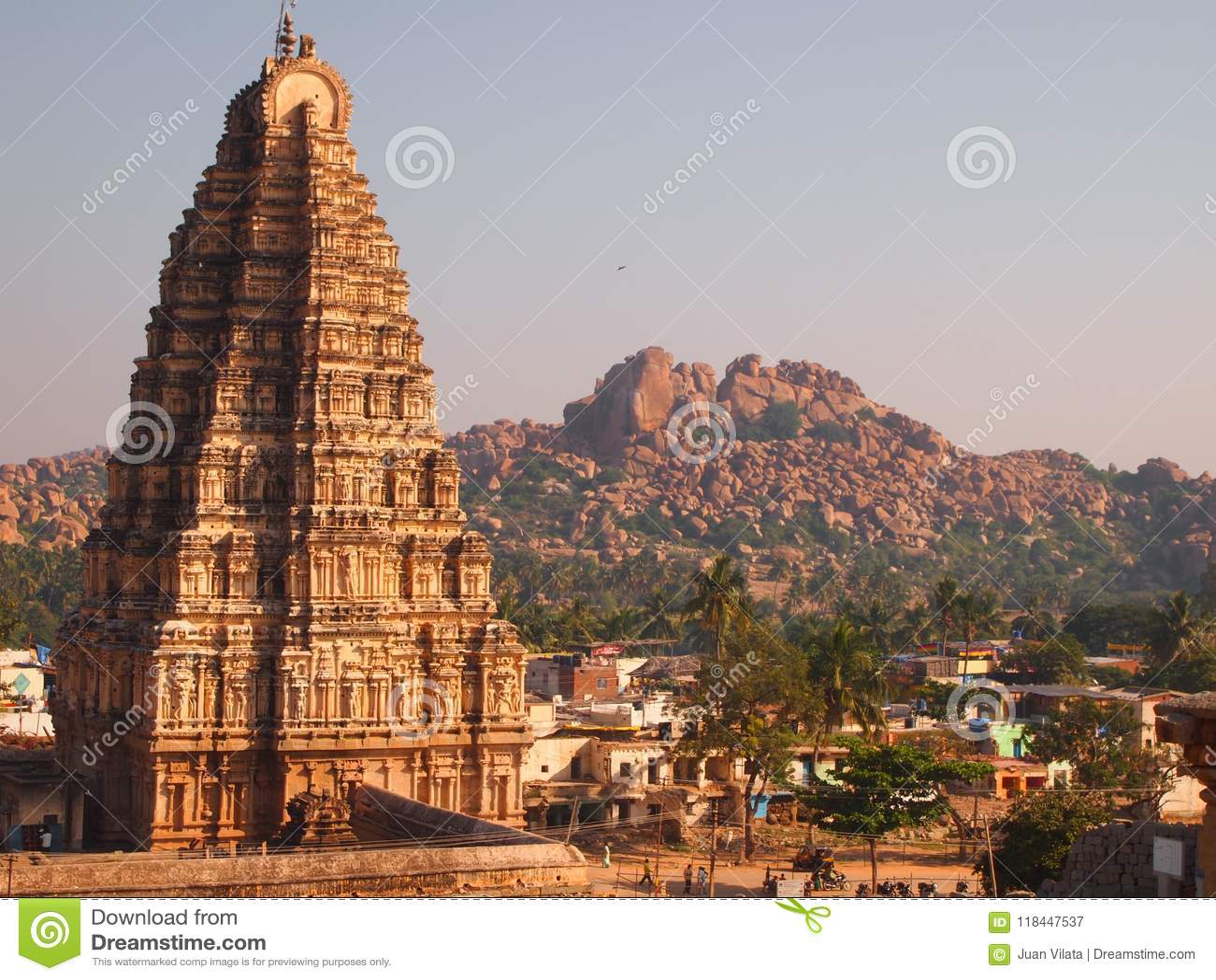 De Hampi-complexe tempel, een Unesco-Plaats van de Werelderfenis in Karnataka, India