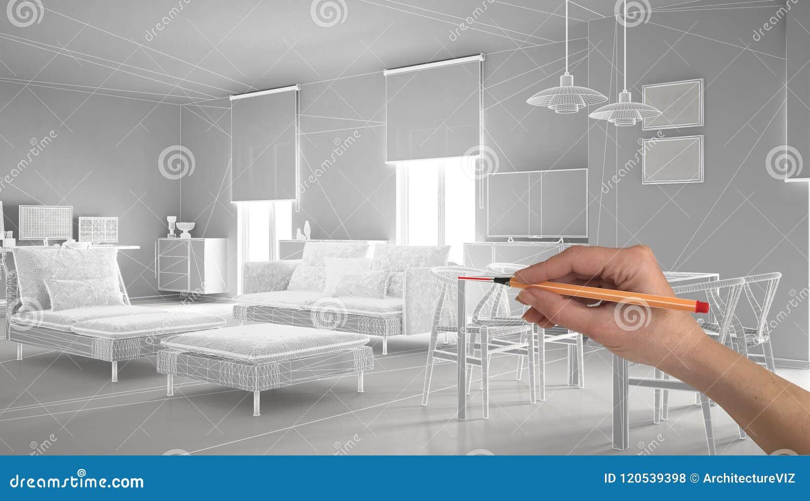 De hand die het abstracte project van het architectuur binnenlandse ontwerp, moderne woonkamer trekken, wireframe schakelt highpo