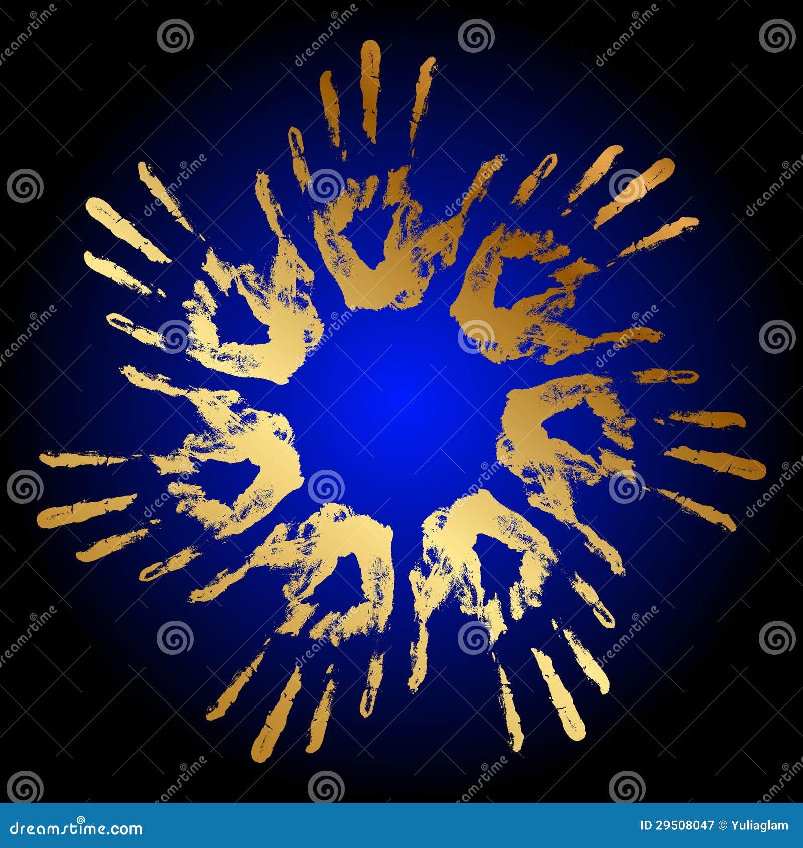 De hand drukt pictogram af