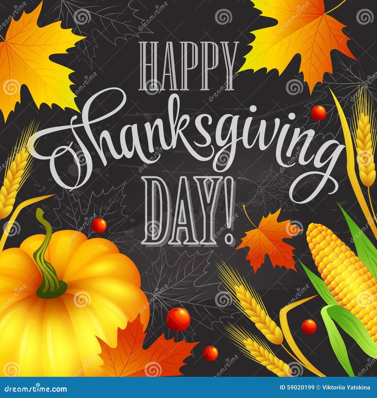 De hand getrokken kaart van de dankzeggingsgroet met bladeren