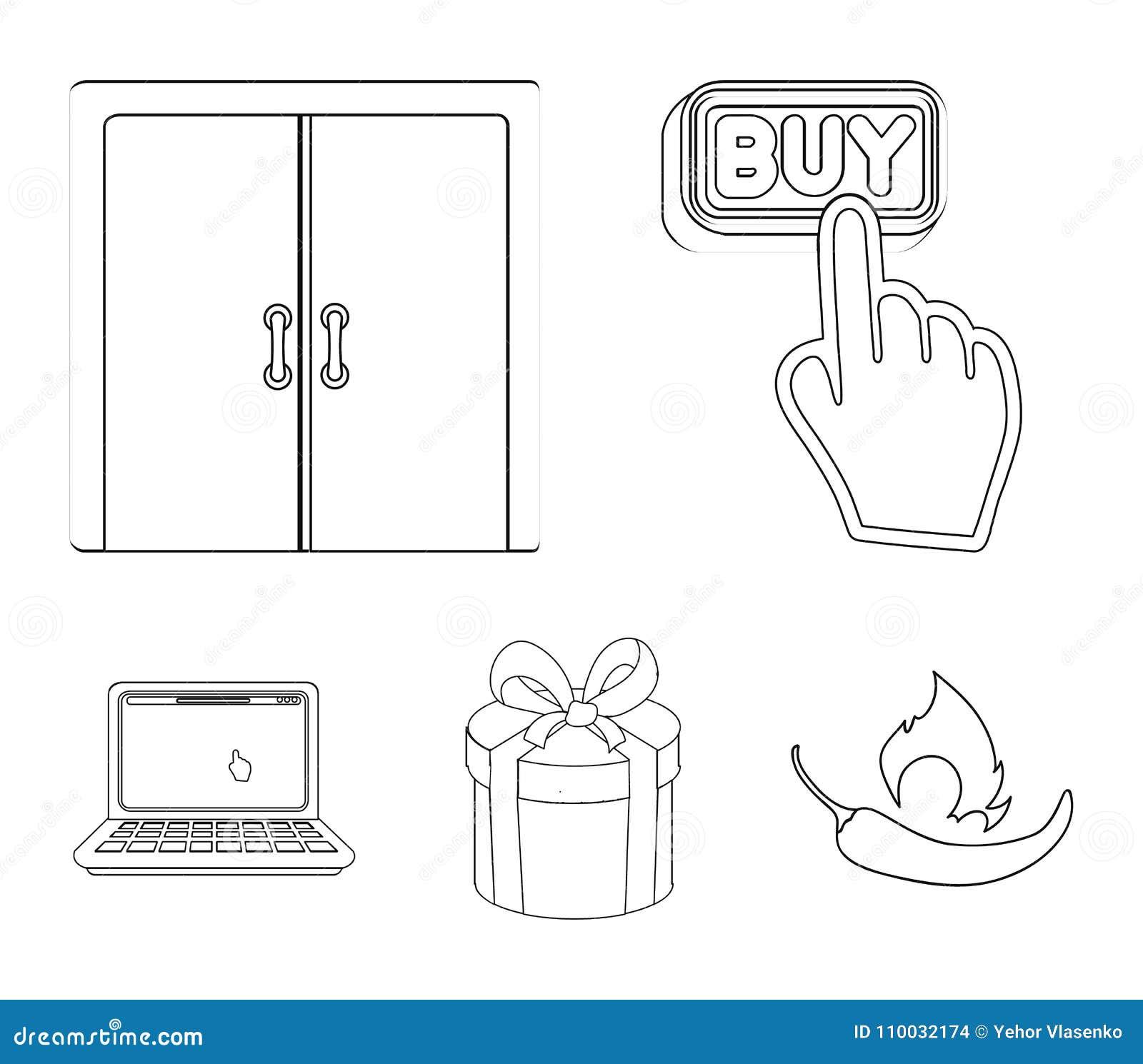 De hand, klikt, lift, gift, doos, deur, online opslag en ander materiaal Pictogrammen van de elektronische handel de vastgestelde