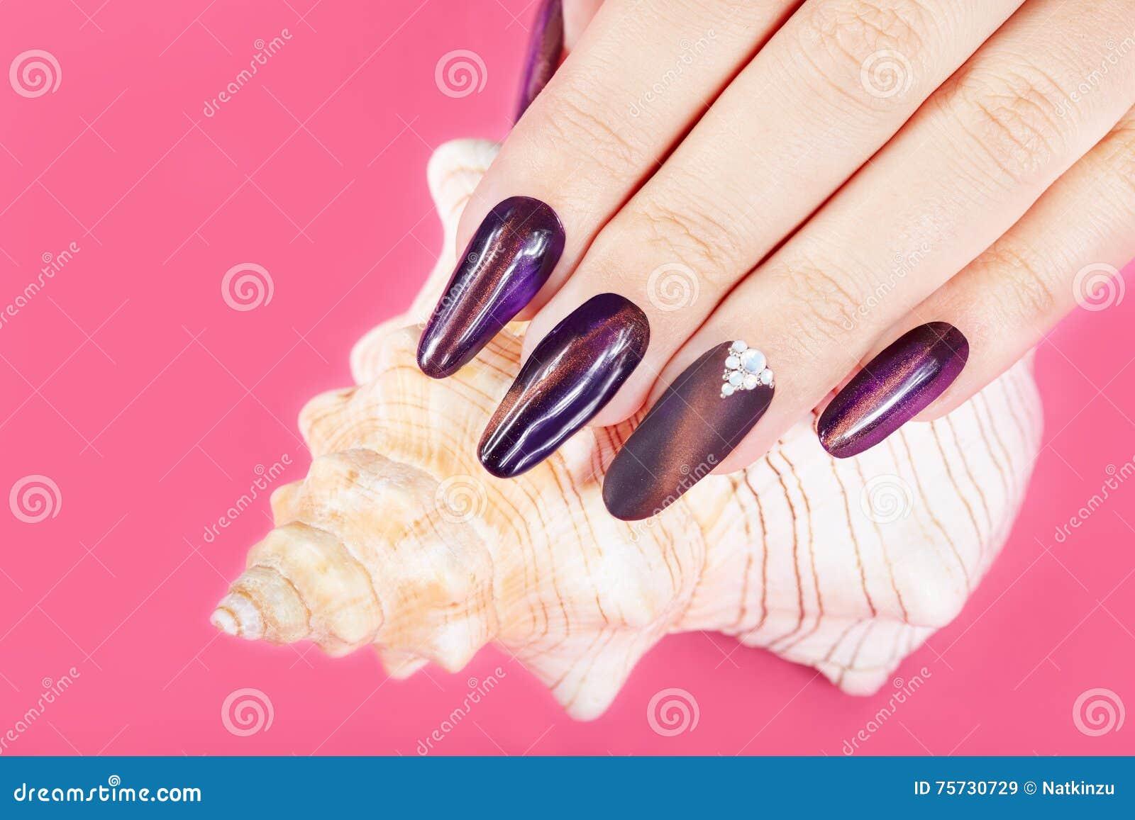 De hand met lange kunstmatig manicured spijkers en zeeschelp