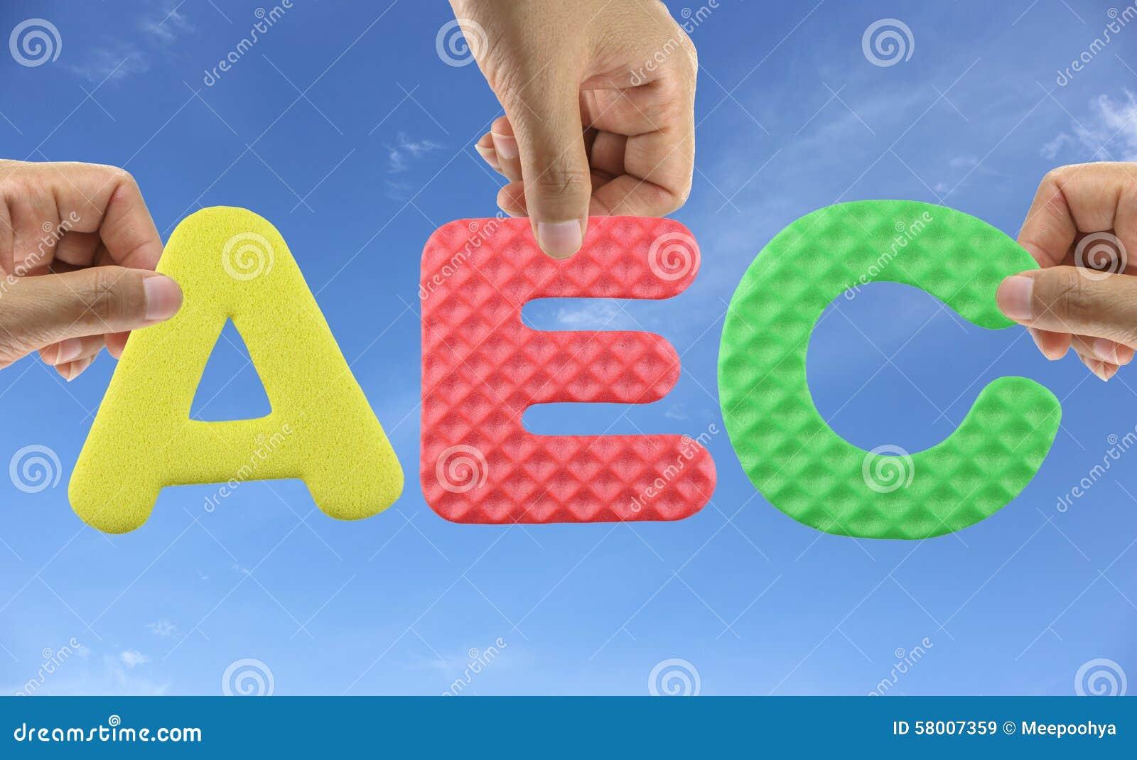 De hand schikt alfabetaec van de Economische Gemeenschap van acroniemasean