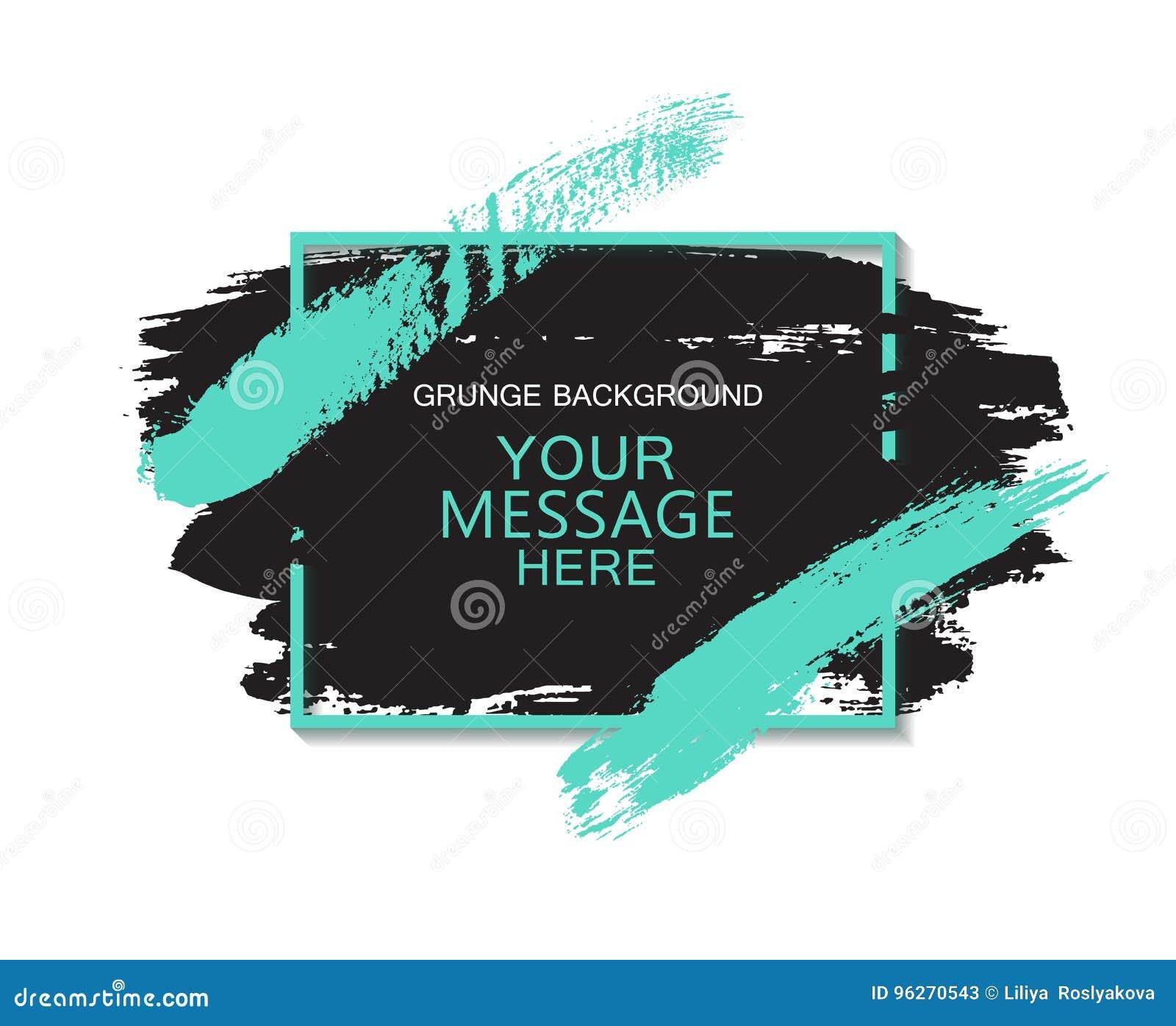 De hand schilderde universele inktachtergrond, borstelslag Vuil artistiek ontwerpelement, vakje, kader voor tekst