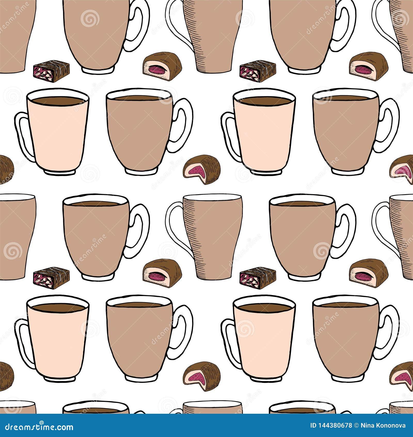 De hand trekt naadloos patroon Kop van koffie, theetijd Vector illustratie