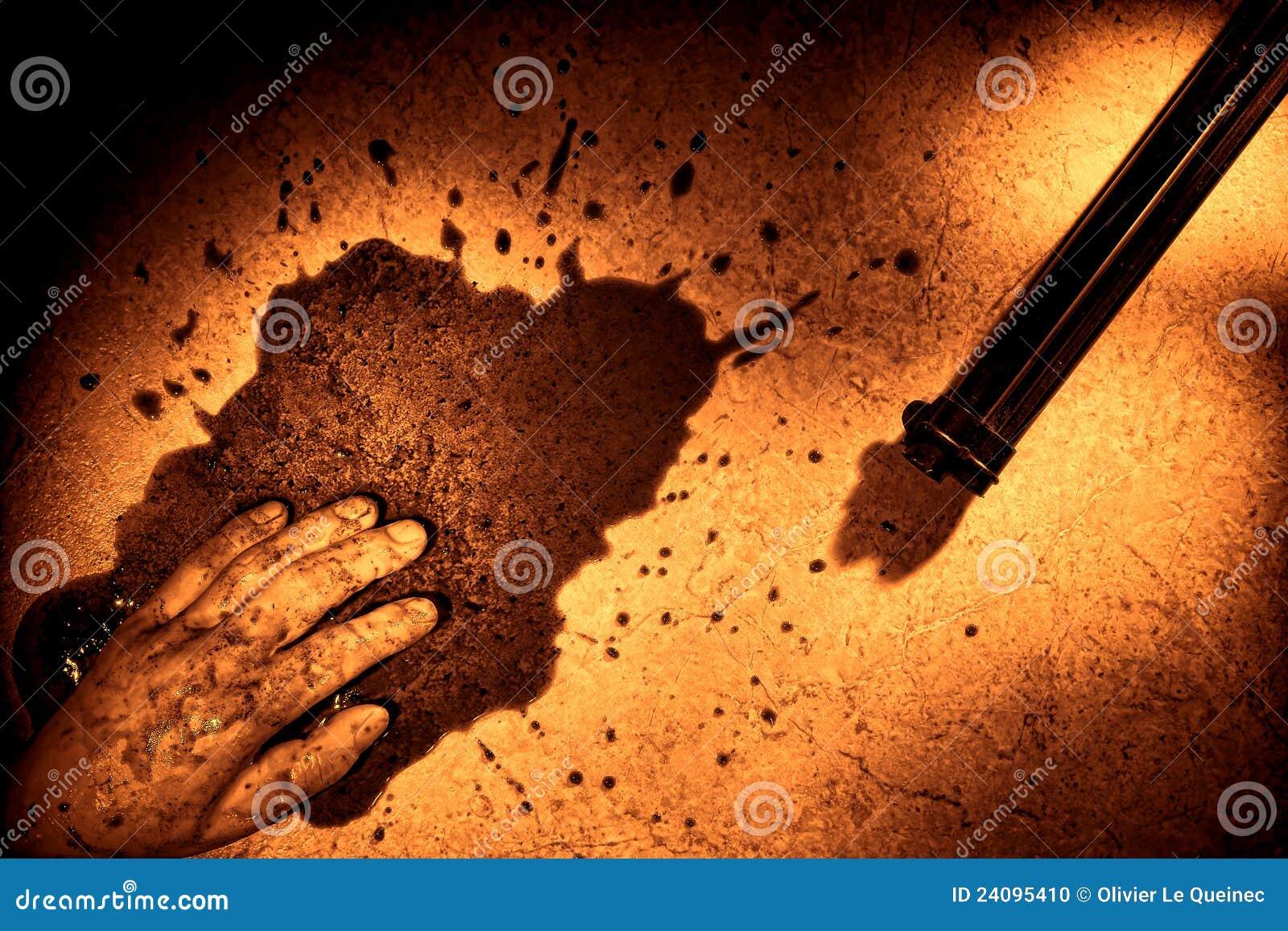 De Hand van de overledene met Bloed ploetert en moord Kanon