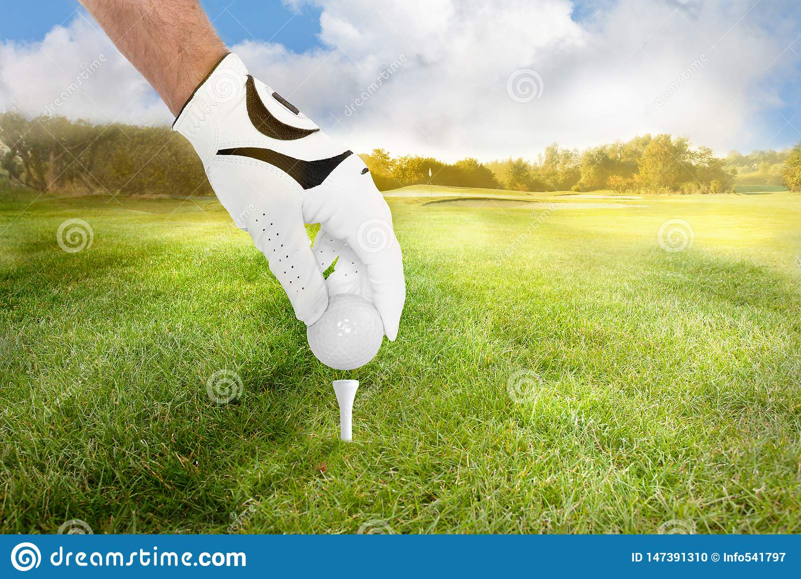 De hand van een golfspeler plaatst golfbal op het T-stuk op fairway