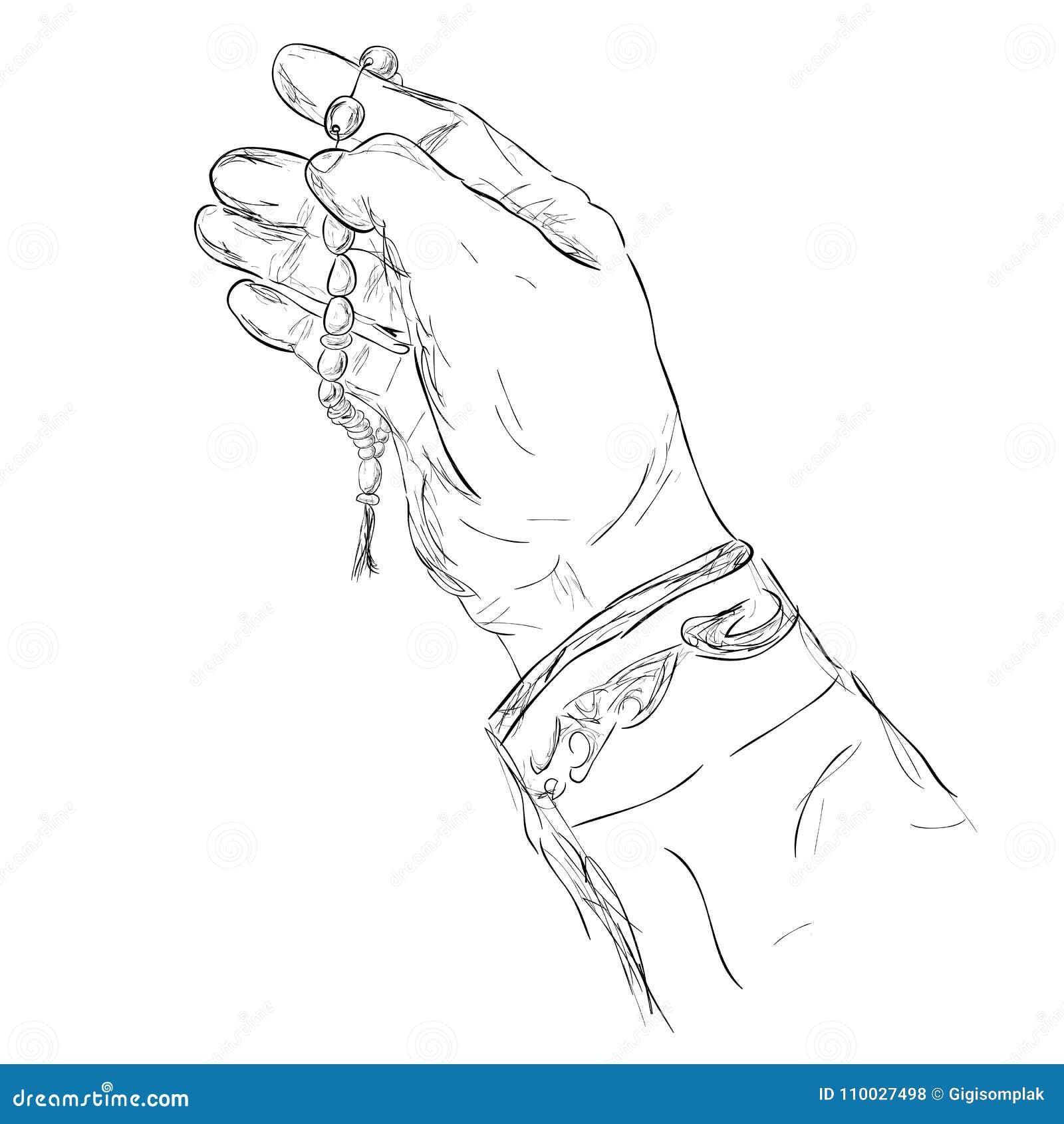 De Hand van het krabbelgebaar het Verheffen voor God die gebedparels gebruiken