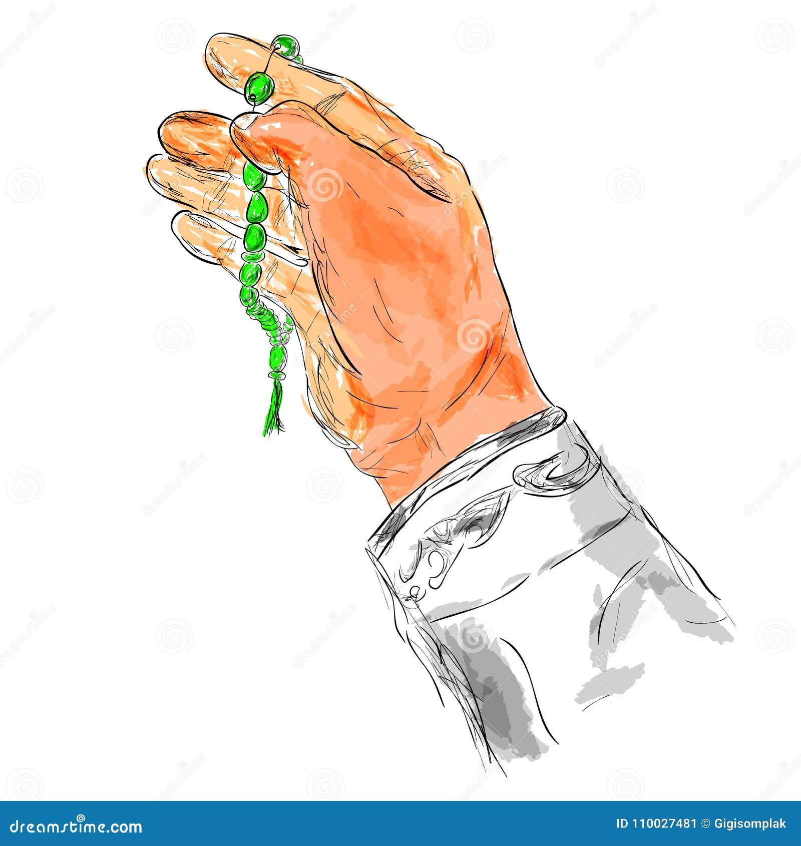 De Hand van het krabbelgebaar het Verheffen voor God die gebedparels gebruiken, bij Waterverfeffect