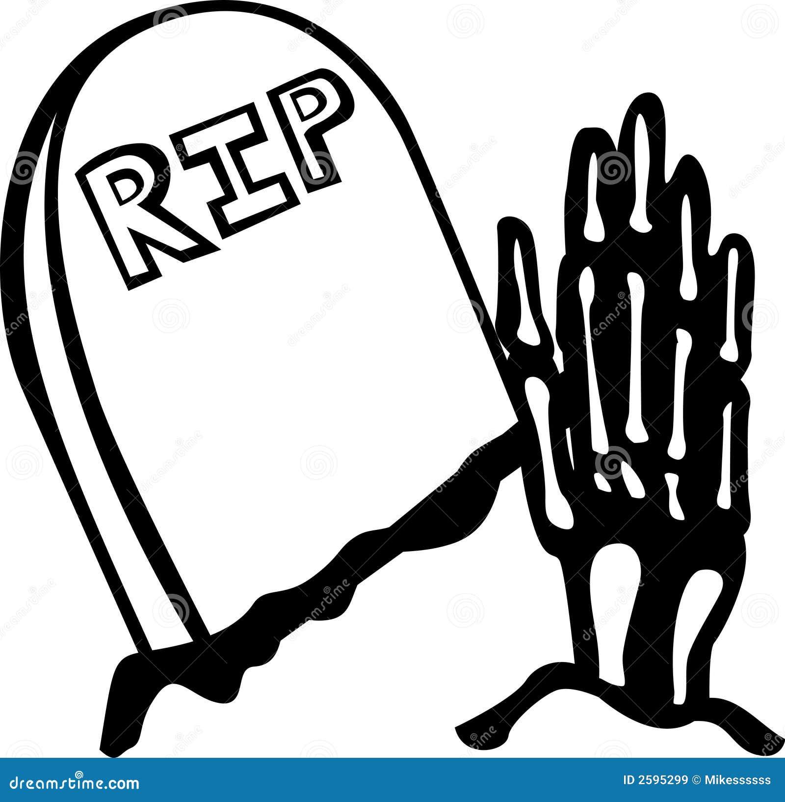 De hand van het skelet en een graf