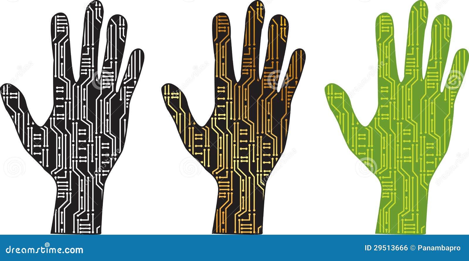 De hand van PCB