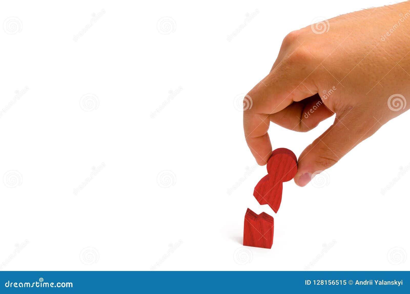De hand verzamelt het gebroken menselijke cijfer Psychologische assista