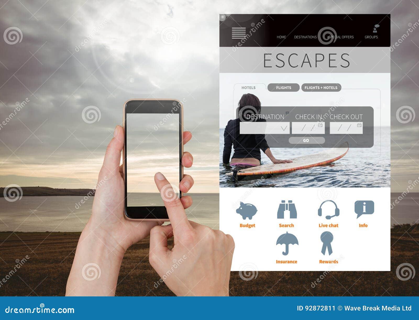 De hand wat betreft Mobiele telefoon ontsnapt App van de Vakantieonderbreking aan Interface met overzees