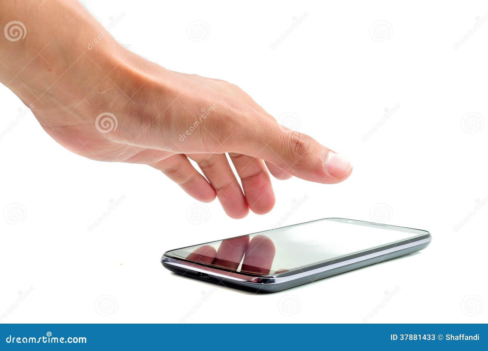 De hand wil handphone nemen