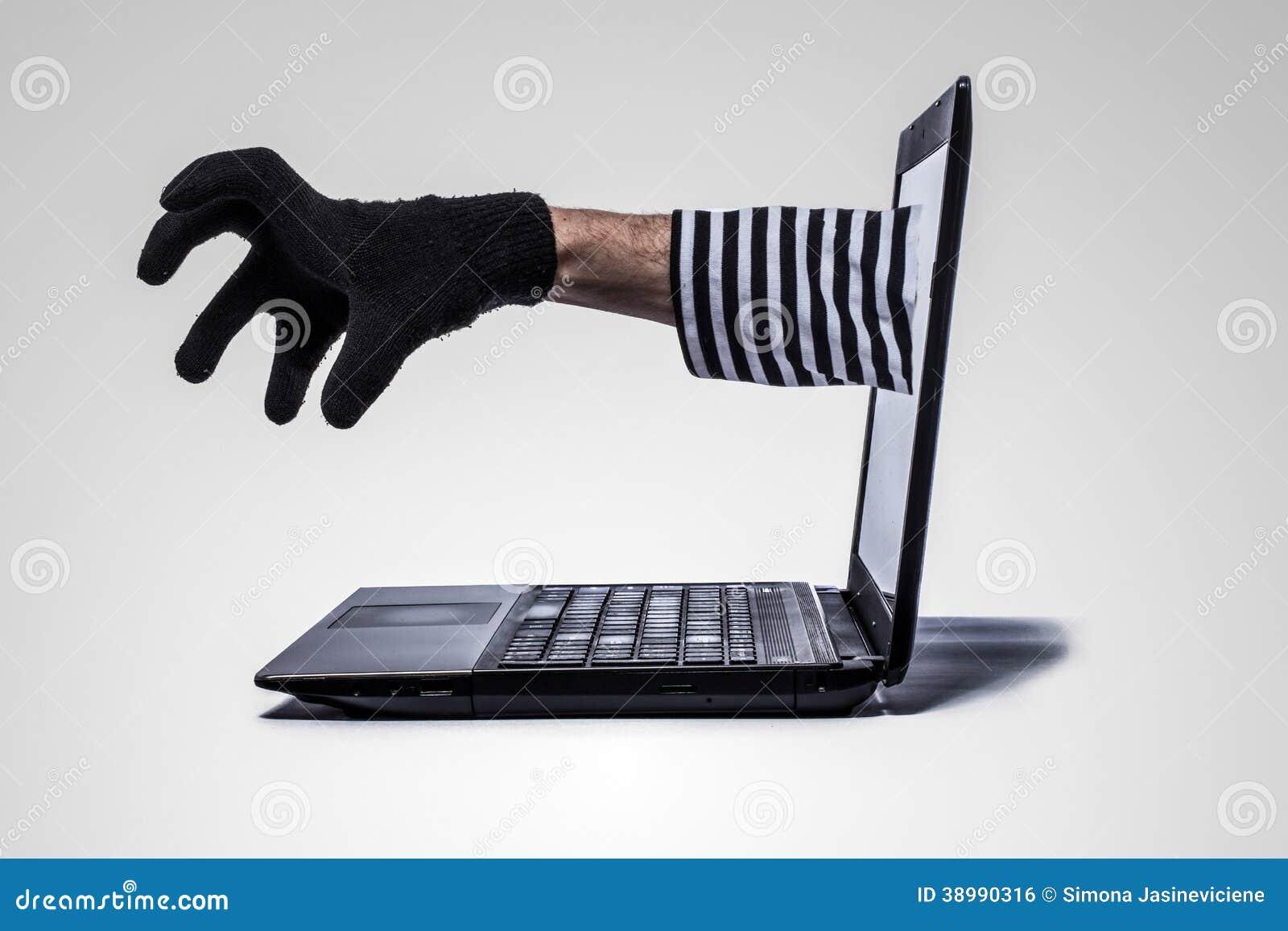 De handbereik van de dief uit computer
