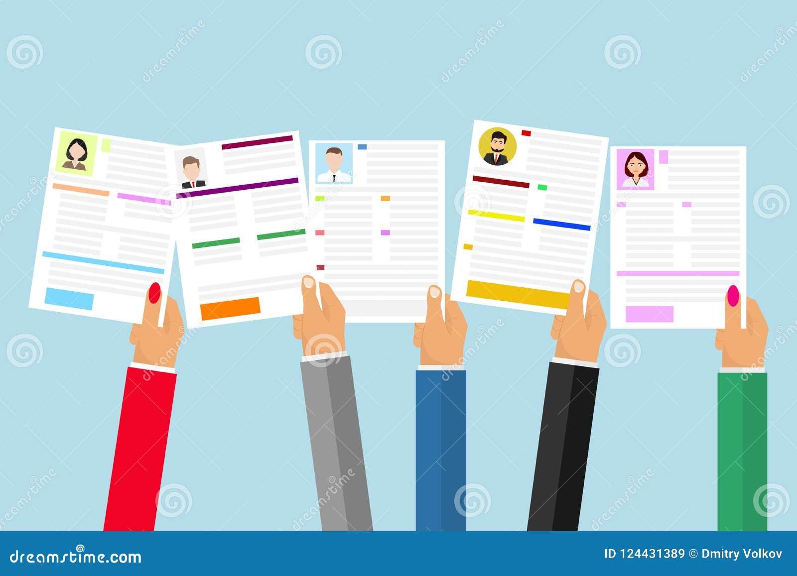 De handen houden een samenvatting Het concept personeelsselectie Zoek naar de gewenste samenvatting