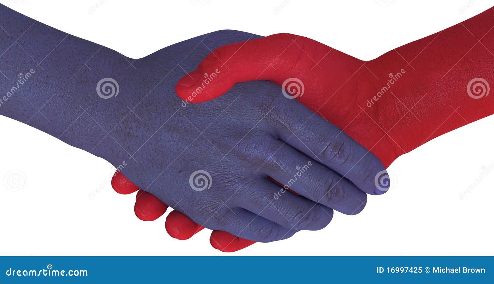 De handen van de de kantenschok van de oppositie keuren compromis goed