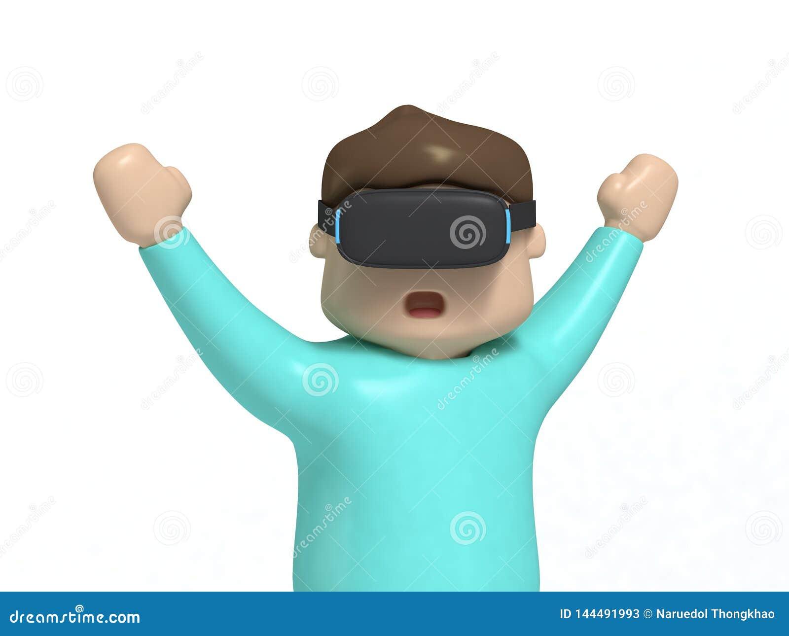 De handen van de het beeldverhaalstijl van het jongenskarakter omhoog op:wekken-grappig met VR-3d het videospelletjeconcept van d