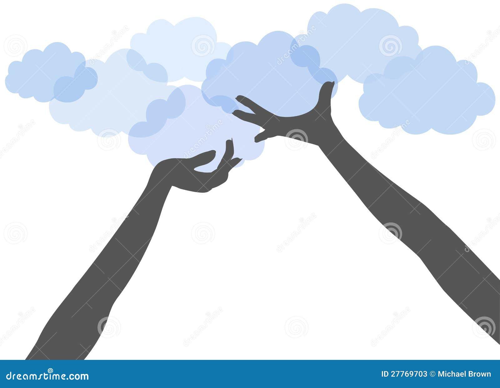 De handen van mensen steunen wolk gegevensverwerking