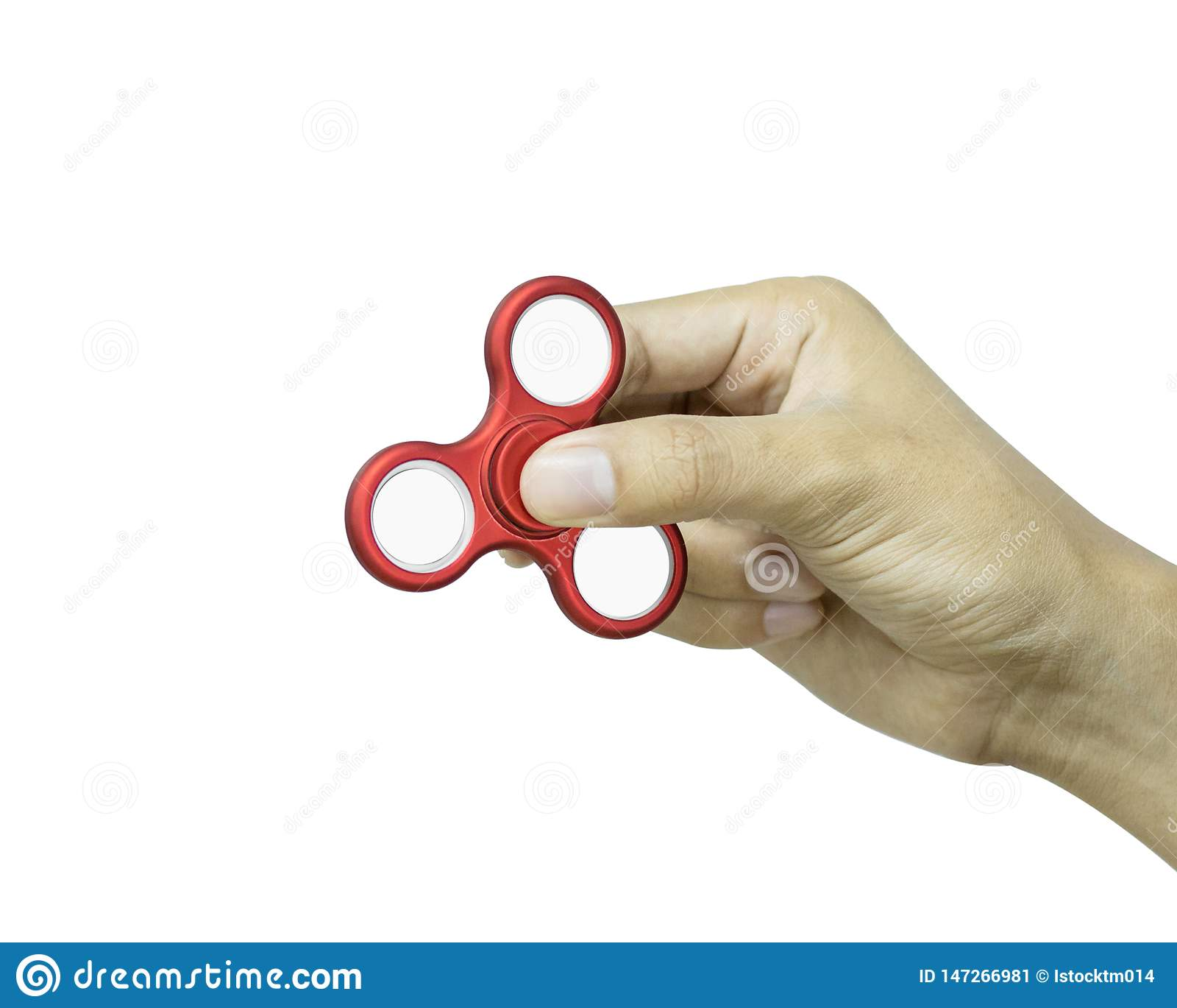 De handholding friemelt spinner op witte achtergrond wordt ge?soleerd die Spannings verlichtend stuk speelgoed