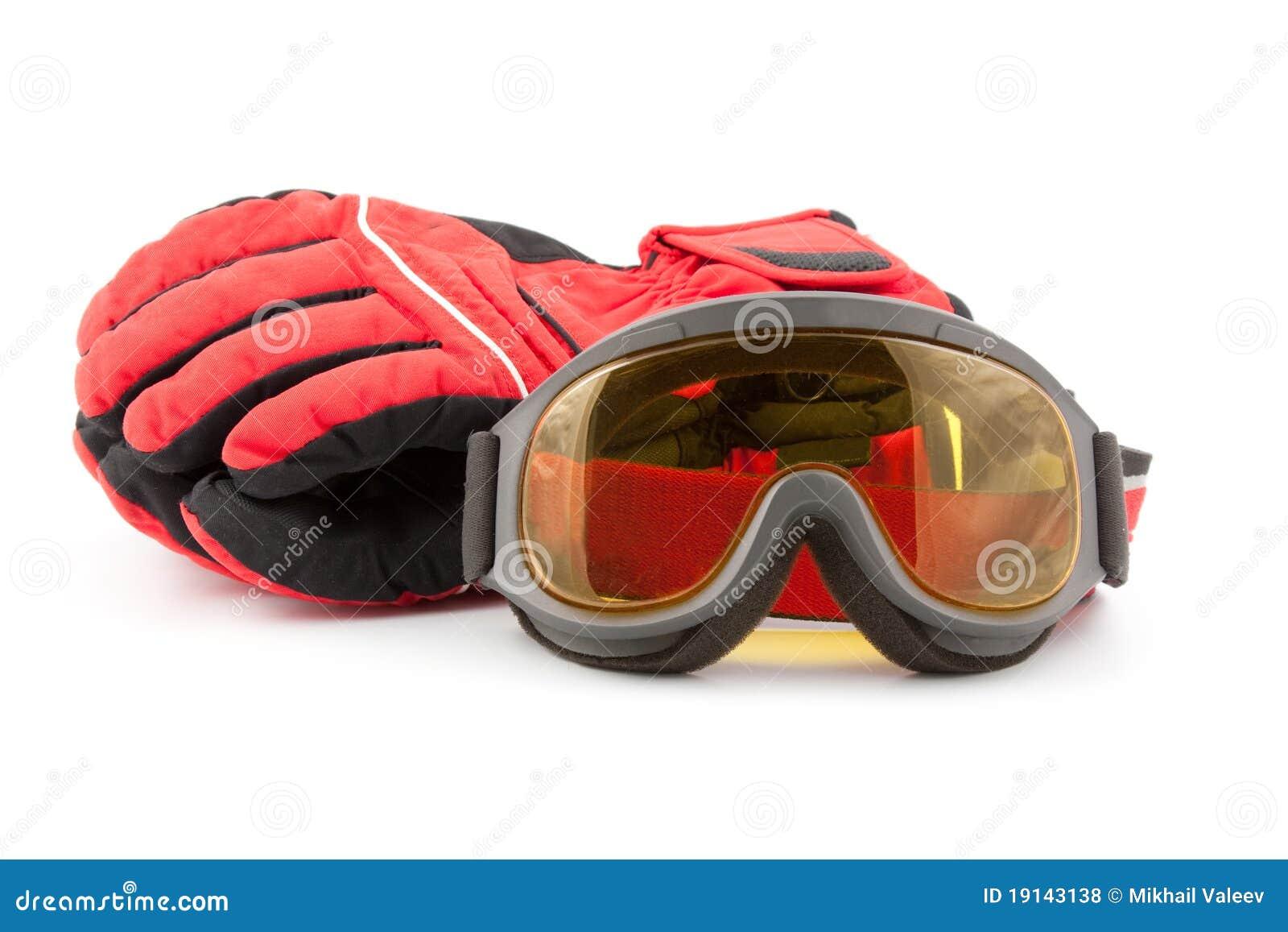 De handschoenen en de beschermende brillen van de ski