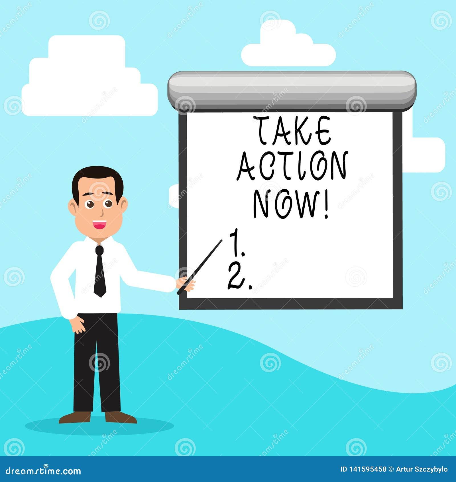 De handschrifttekst voert nu Actie Het concept die Dringend onmiddellijk Direct Bewegingsbegin betekenen begint