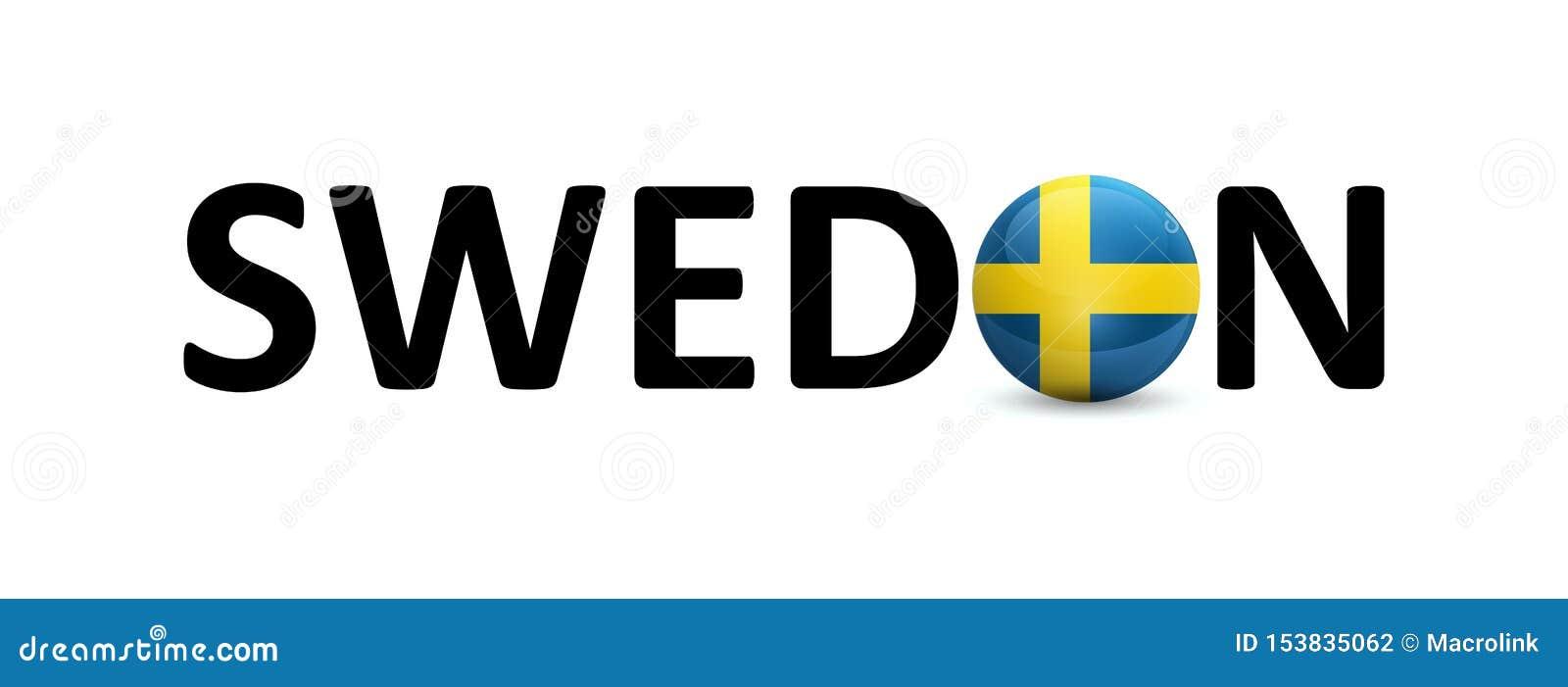 De handtekening van Zweden met de nationale vlag van Skandinavisch land