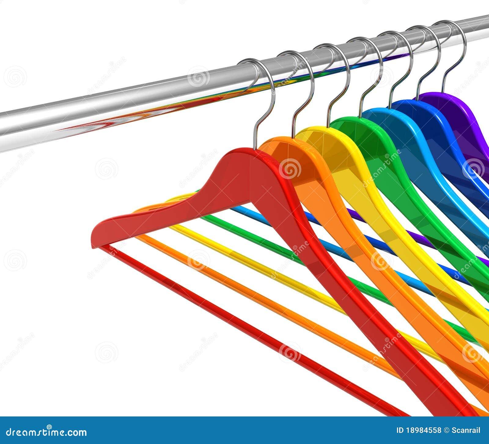 De hangers van de regenboog op klerenspoor