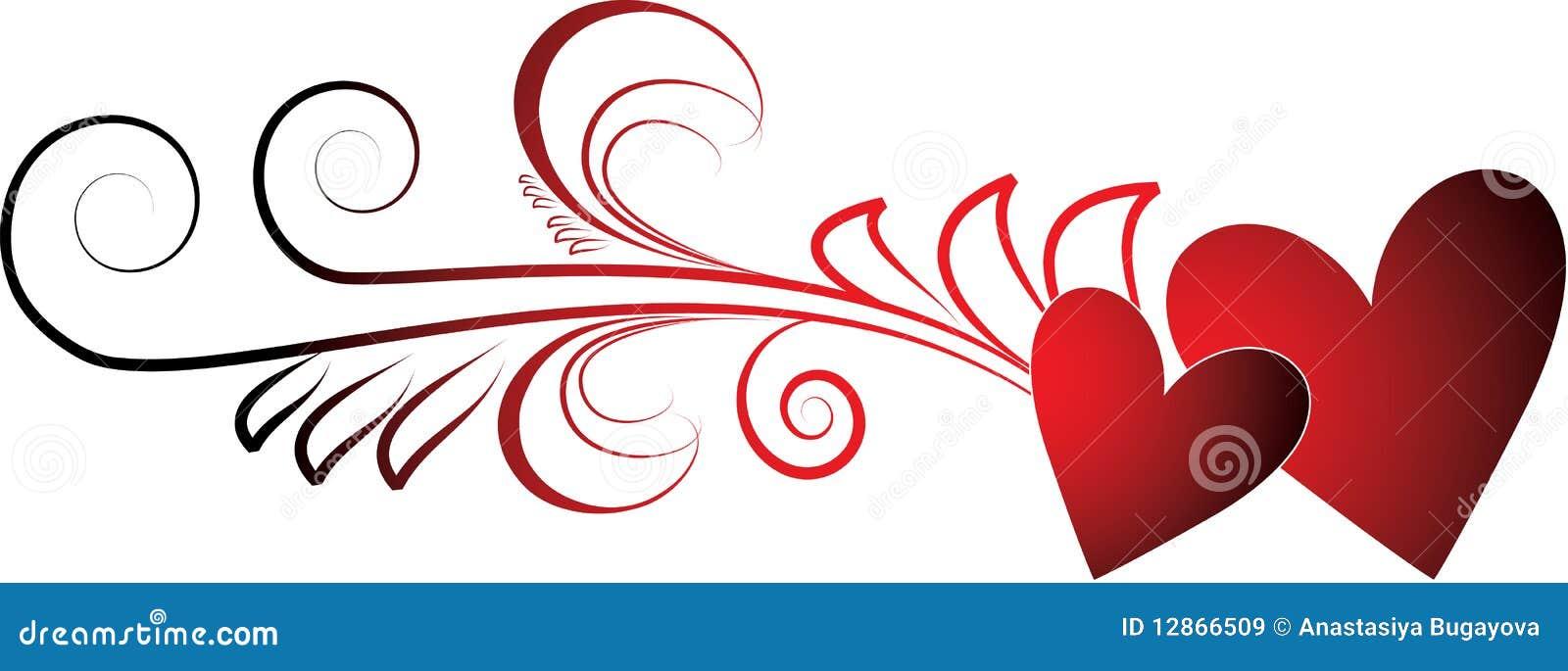 De harten van valentijnskaarten