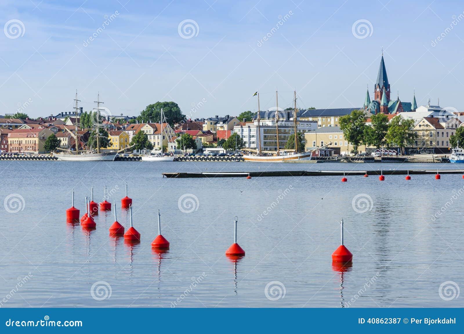 De haven van Vastervik van de stadsmening