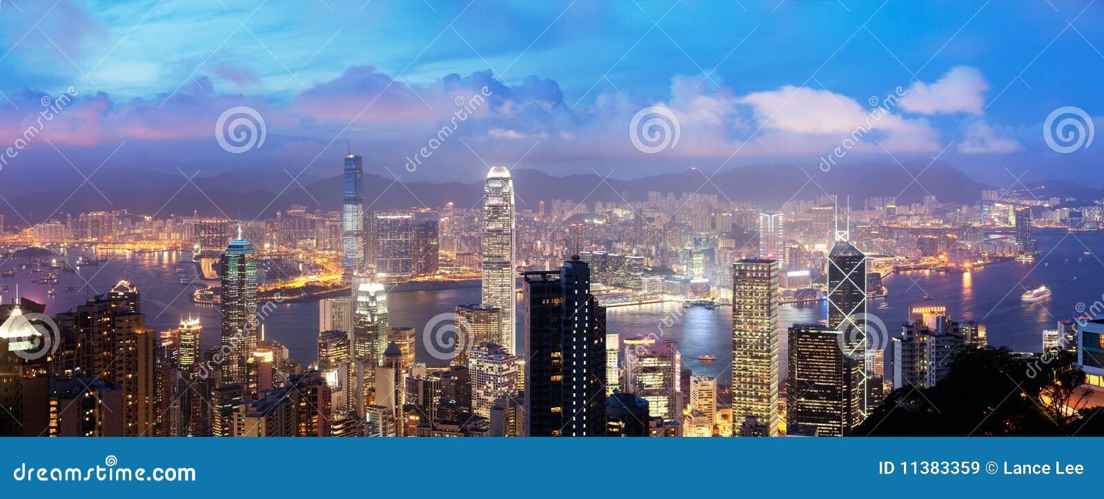 De Haven van Victoria, het eiland van Hongkong, China