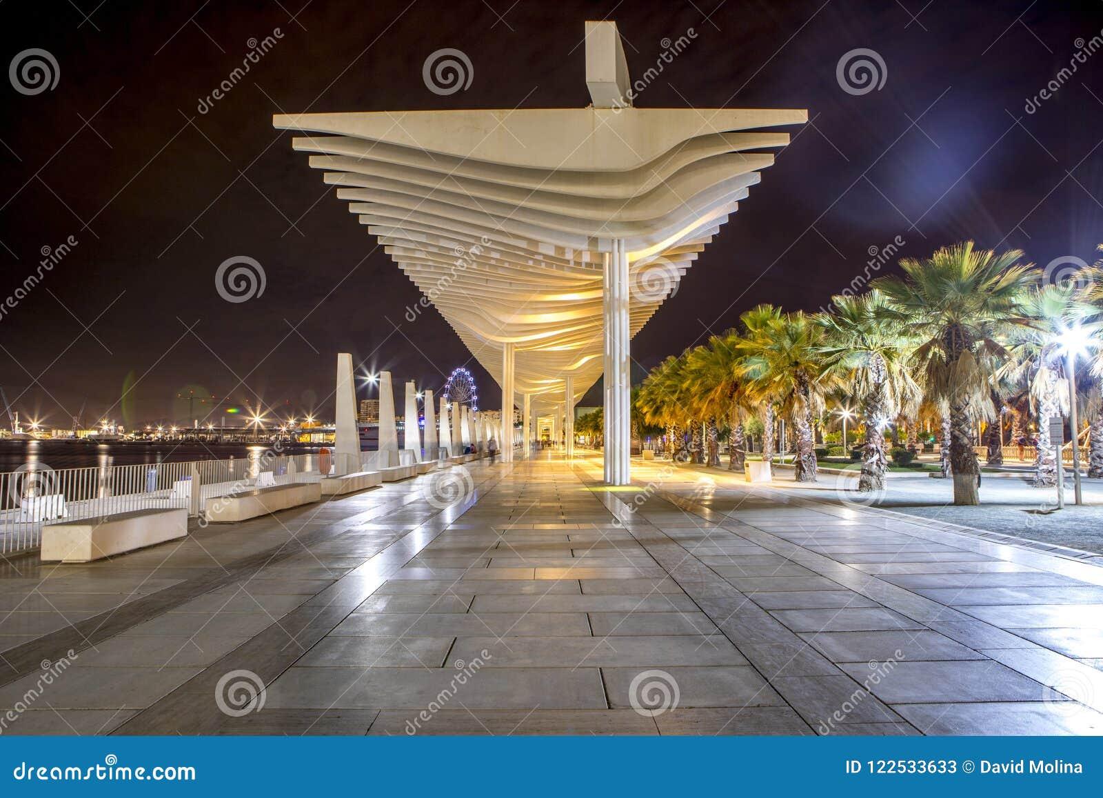 De havenpromenade van Malaga bij nacht