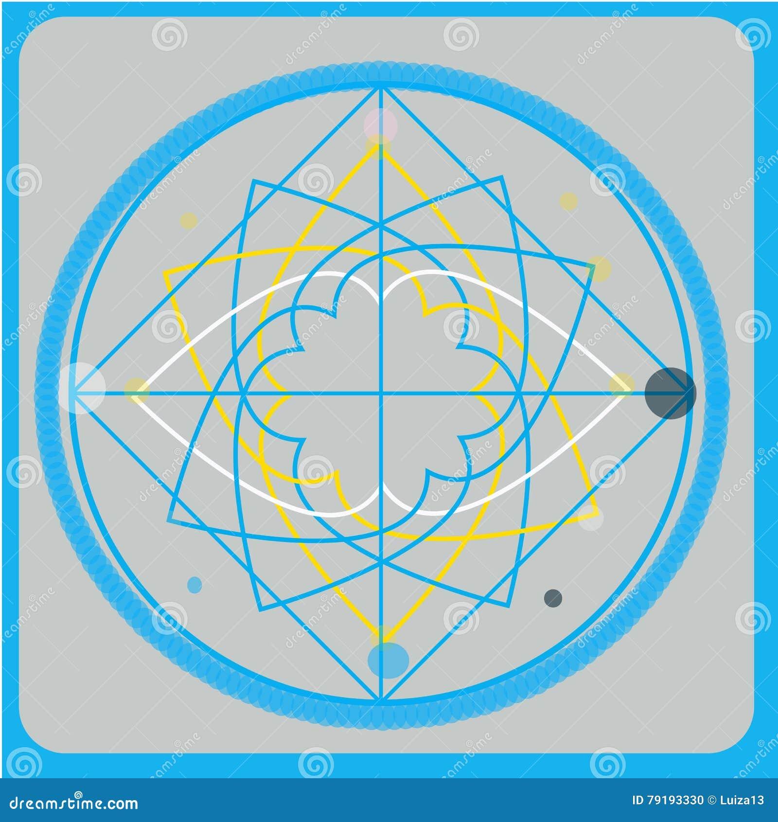 De heilige elementen van het meetkunde vectorontwerp Alchimie, godsdienst, filosofie, spiritualiteit, hipster symbolen en