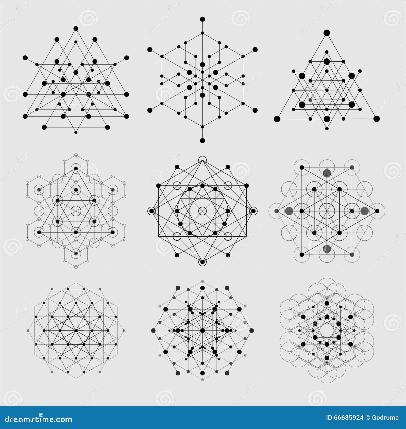De heilige elementen van het meetkunde vectorontwerp Alchimie, godsdienst, filosofie, spiritualiteit, hipster symbolen en element