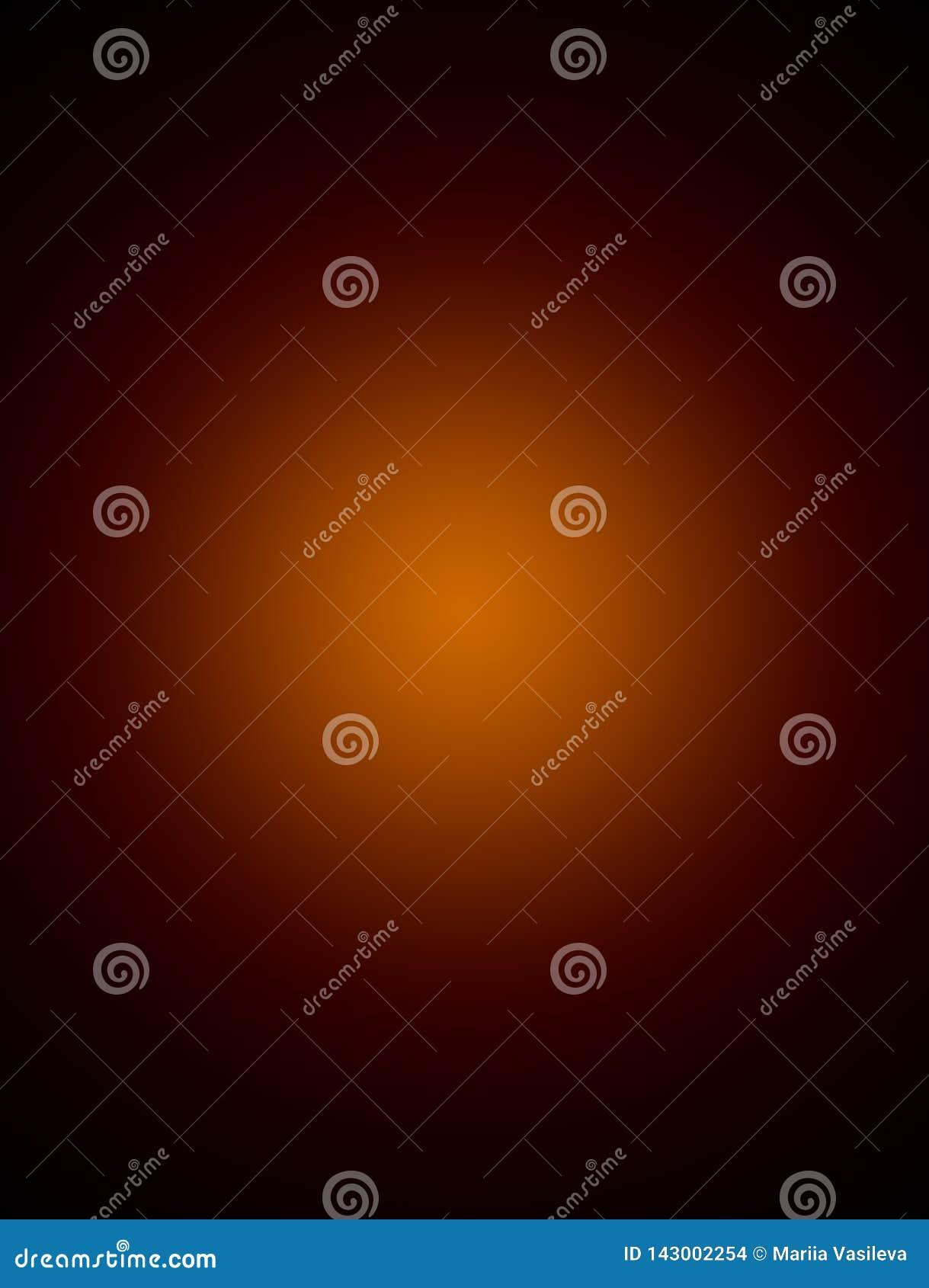 De heldere bruine achtergrond, gradiënt, oranje centrum, spatie, vertroebelde, voor ontwerp, donkere samenvatting,